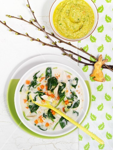 Exotic chicken soup with coconut milk and spinach rabbit shaped exotic chicken soup with coconut milk and spinach rabbit shaped biscuits and baby food forumfinder Choice Image