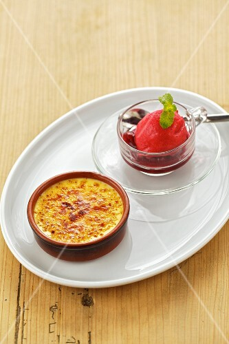 Crème brûlée with Amarena cherries and cherry sorbet