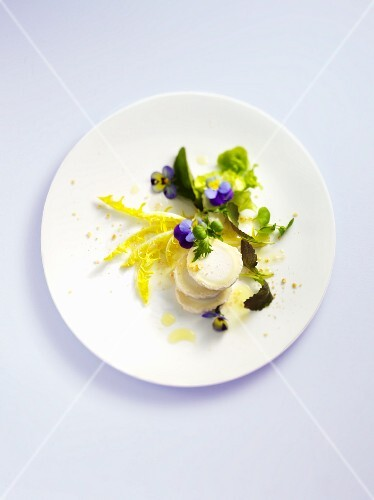 Wild herb salad with goat's cheese and violet vinegar