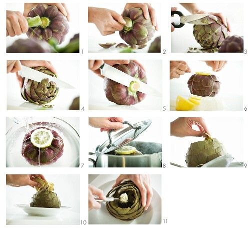 Artichokes being prepared and cooked