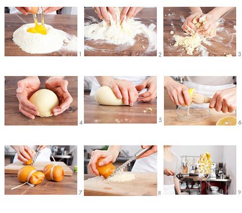 Preparing pasta dough for ravioli with Scamorza