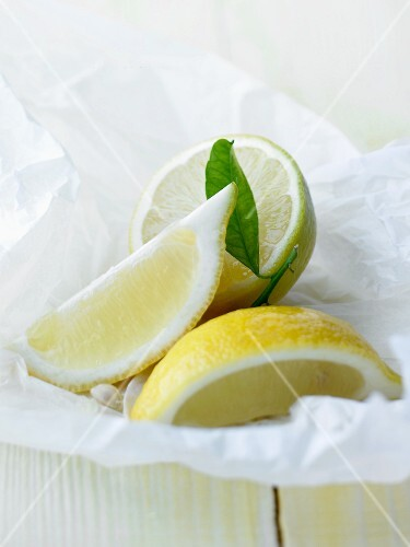 Lemons on baking parchment