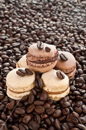 Home-made coffee and vanilla macaroons