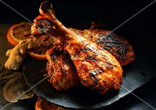 Barbecued turkey legs with orange and ginger