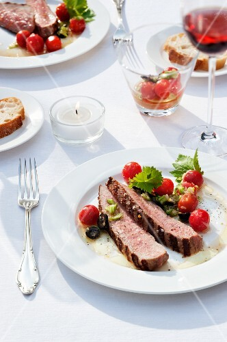 Prime boiled veal, grilled and served with tomato vinaigrette