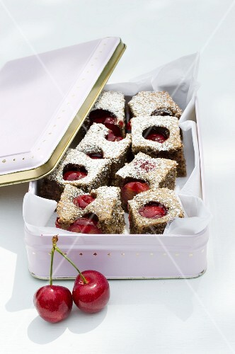 Nut and coffee brownies with cherries