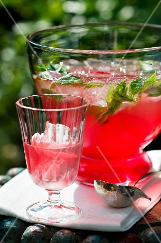 Rhubarb punch with mint