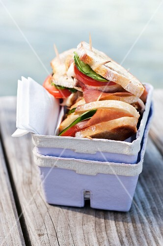 Grilled bruschetta on a landing stage