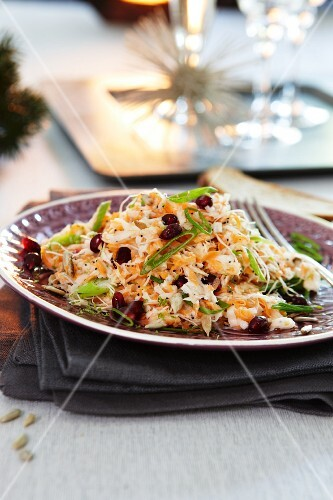 Carrot salad with pomegranate seeds