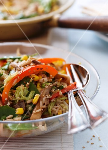 Vegetable fried rice with peppers and sweetcorn