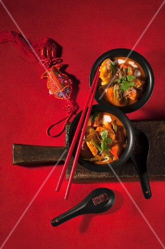 Thai fish curry with squash and beans
