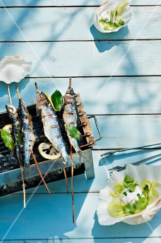 Barbecued sardines on wooden skewers (Scandinavia)