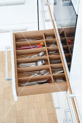 Cutlery drawer in a kitchen