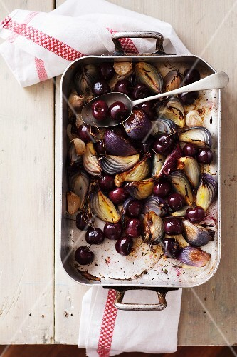 Roasted Cherries, Red Onions, Garlic, Thyme