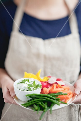 Spring vegetables with a herb dip