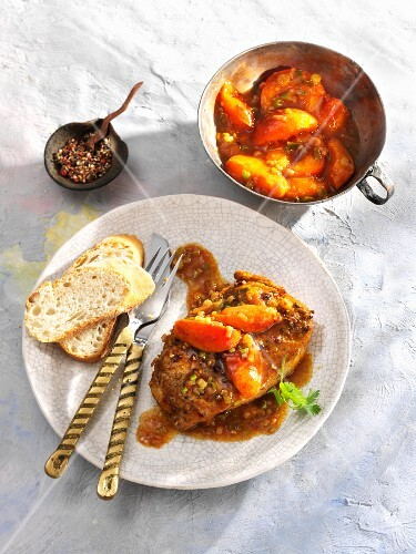 Pork steak with tangy apricot sauce