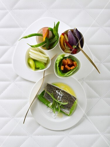 Trout au bleu and vegetable side dishes