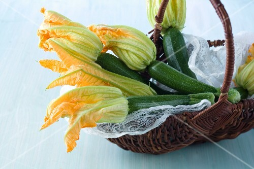Fresh courgettes with flowers in a basket