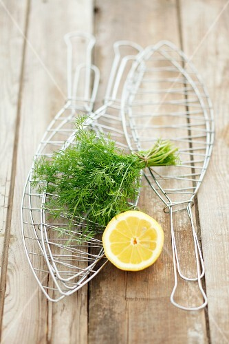 Accessories for grilling fish, dill and lemon