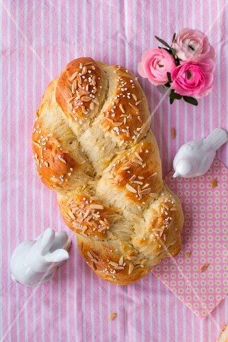 Hefezopf (sweet bread from southern Germany) with slivered almonds
