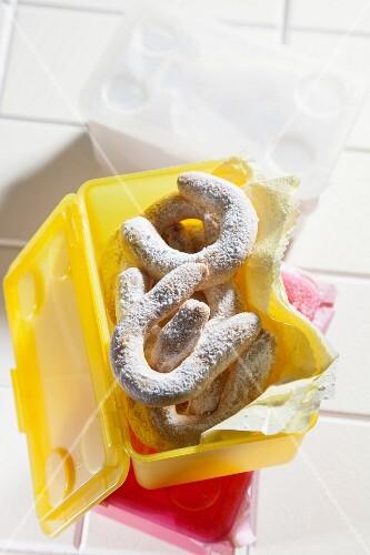 Vanilla crescent biscuits in a lunchbox