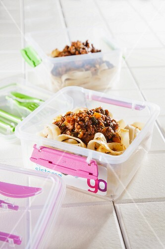 Ribbon pasta with minced meat sauce to eat out