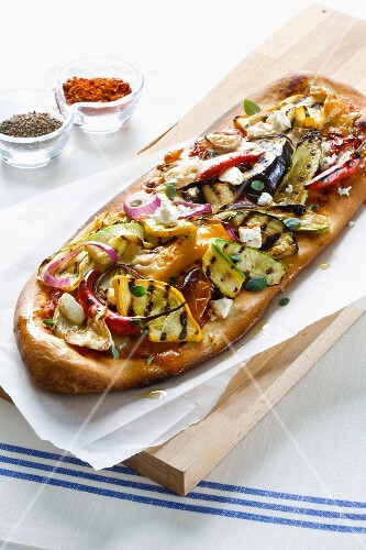 Oblong pizza with chargrilled vegetables