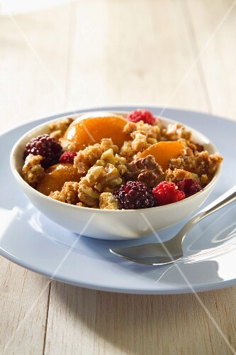 Muesli with apricots and raspberries