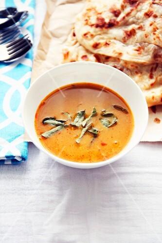 Dal and roti canai (soup and flatbread, Asia)