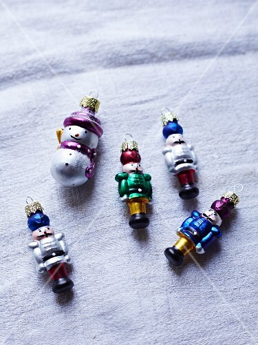 Nutcracker and snowman Christmas tree decorations
