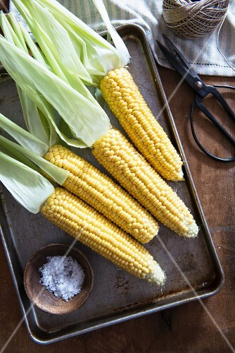 Corn cobs on a baking tray and a small dish of salt