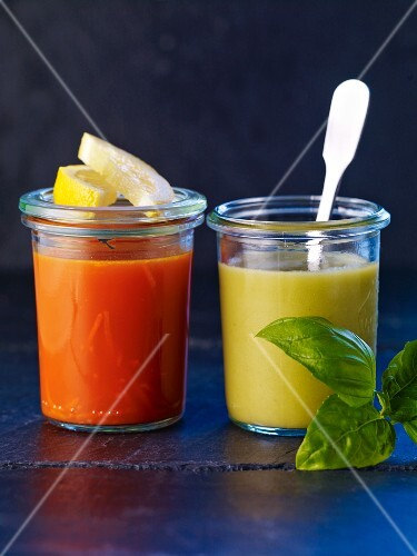Carrot soup and green tomato gazpacho