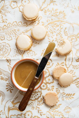 Macaroons with caramel icing