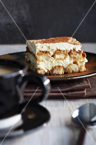 A serving of tiramisu on a plate