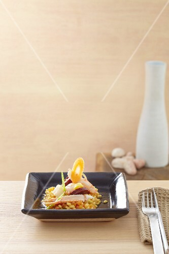 Paella with langoustine
