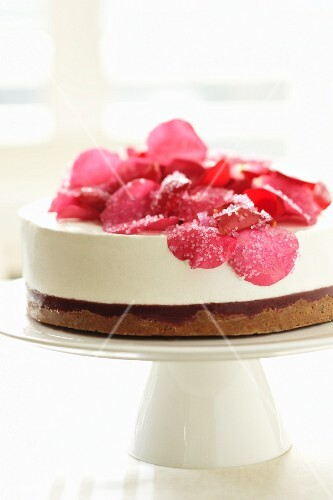 Raspberry cheesecake with rose petals