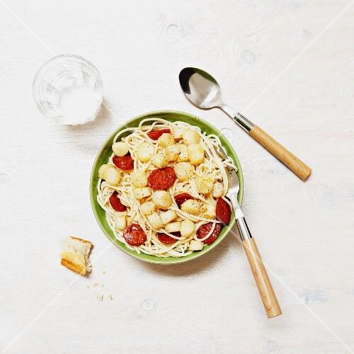 Spaghetti with chorizo and scallops