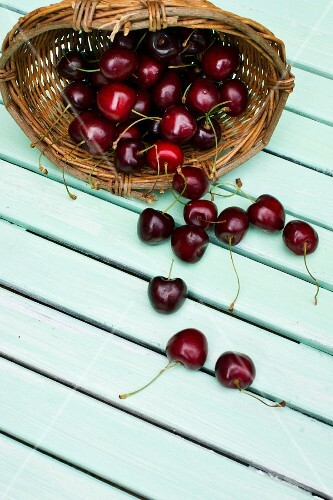 A small basket of cherries