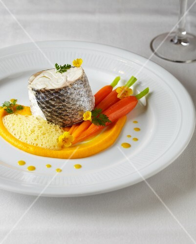 Bass with carrot purée and turmeric