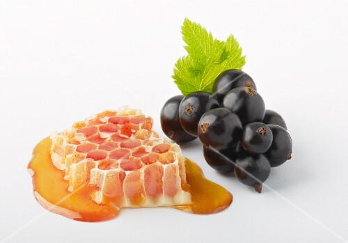 Honeycomb and blackcurrants