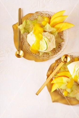 Caipirinha mousse with mango sauce