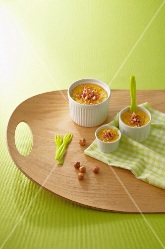 A savoury baked custard with bacon and nuts