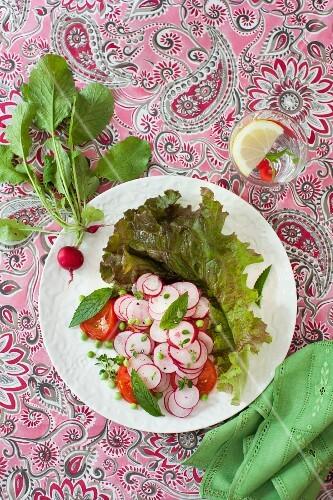 Radish Salad on a White Plate