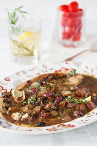 Flounder with Grapes, Raisins and Marsala Wine