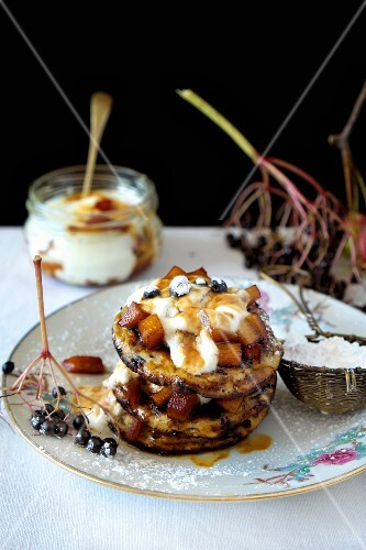 Elderberry and apples rustic blinis with caramelized apple and yogurt