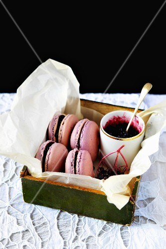 Elderberry macarons
