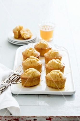 Polenta friands with syrup