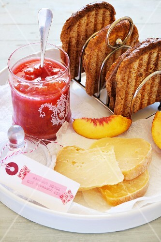 Peach & currant jam with cheese and toast