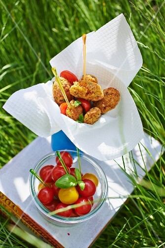 Falafel with tomatoes at a picnic
