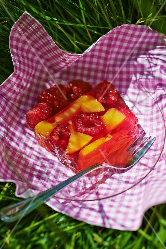 Fruit terrine with jelly at a picnic